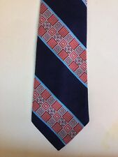 MENS Wide VINTAGE BLUE RED CLIP ON TIE NECKWARE HIPSTER RETRO MOD 17