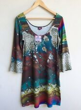 SALAAM Tunic Dress Size M Scoop Neck Multi Print Rayon 3/4 Bell Sleeve Spring