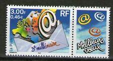 STAMP / TIMBRE FRANCE NEUF N° 3365 ** 3° MILLENAIRE / PLI AVEC CARTE DU MONDE