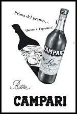 BITTER CAMPARI BOTTIGLIA OMBRA APERITIVO PRANZO TAVOLA 1955