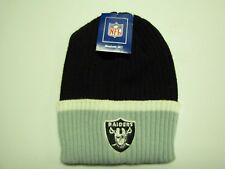 Oakland Raiders By RBK Cuffed Ribbed Black Grey White Knit Beanie Ski Cap Hat