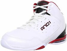 AND1 Men's Master Mid Basketball Shoe 18, White/Black/Victory Red