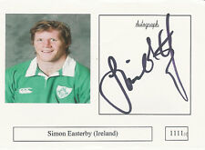 Simon Easterby Ireland Rugby Player Signed Photo Card Original Autograph