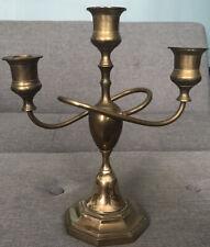 """Vintage Brass Triple 3-Arm Candlestick Holder Candelabra 12"""" High, Unique Design"""