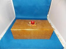 Antique CLAY GAMBLING POKER CHIPS WITH WOODEN CASE AND COVER! ~208 Chips