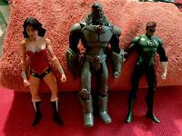 "wonder woman, Cyborg and Green Lantern Dc Comics Action Figure 7"" Loose"