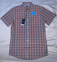 IZOD Men's Small Breeze Collection Red Clay Button Down Short Sleeve Shirt