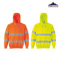 Portwest Hi-Vis Hooded Sweatshirt B304- Safety Reflective Jumper Hoodie Workwear