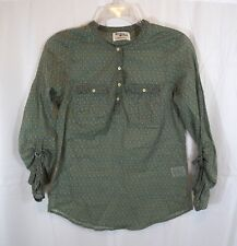 Holding Horses Anthropologie Size 0 Tunic Blouse Green Diamond Print Top