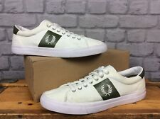 FRED PERRY MENS UK 8 EU 42 WHITE GREEN TRAINERS CANVAS TRAINERS