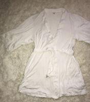 Fleur't women's White 3/4 Robe Laced Sleeves lingerie Size S/M Euc