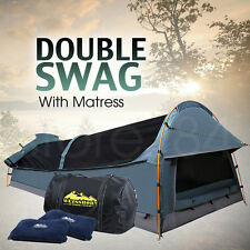 Double Dome SWAG Camping Canvas Tent SET with Mattress & 2 Pillows - NAVY