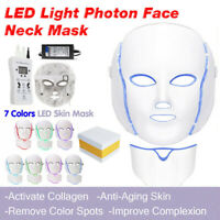 LED Light Photon Face Neck Mask Rejuvenation Skin Therapy Wrinkles 7 Colors US