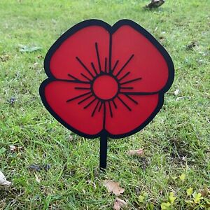 Mild Steel Remembrance Day Memorial Poppy Sculpture w/ Spike
