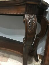 Traditional Carved Marble Top Sofa Table with curved legs and shelf