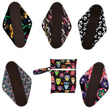 "5 Pieces 14"" Overnight/PP Charcoal Bamboo Reusable Cloth Mama Menstrual Pads+1 W"