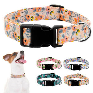 Floral Pet Dog Nylon Collars for Small Large Dogs with Plastic Quick Fit Buckle