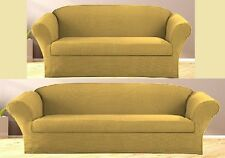 JERSEY STRETCH FIT 2 Pc Furniture Slipcover Set, Sofa/Couch+Loveseat Covers GOLD