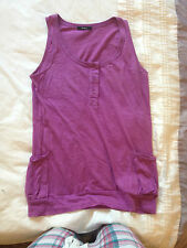 Ladies Long Top Size 8 - Purple Cotton Summer Beach Strappy T-shirt
