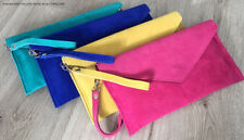 Bright Pink Wedding Clutch Bag Evening Bag Oversize Envelope Suede Made in Italy