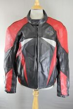 RUSH-M BLACK, RED & SILVER LEATHER BIKER JACKET WITH REMOVABLE CE ARMOUR 46 INCH
