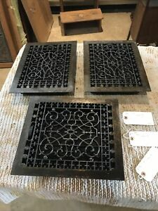 J20  3available Price each antique cast iron heating grate 11.75 x 13.75