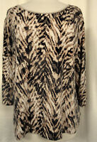 JM COLLECTION WOMAN Pullover Top Brown Abstract Chevron Print  3/4 Slv PLUS 2X