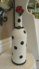 Hand Painted Wine Bottle Ivory & Black Polka Dot W/ Vintage Jet Beads & Button