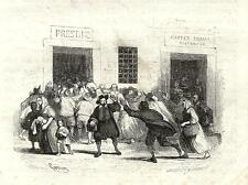 Stampa antica PROMESSI SPOSI ASSALTO AI FORNI pane GONIN 1840 Old antique print