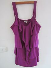 BEAUTIFUL PURPLE  STRETCH, TIERED TOP BY KATIES SIZE L [APPROX 14]
