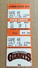 Barry Bonds First Game @ San Francisco 1986 7/12/86 Giants Pirates Ticket Stub