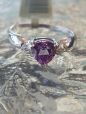 Alexandrite Heart Cut And Diamond Ring 10kt Solid White Gold
