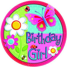 GARDEN GIRL LARGE PAPER PLATES (8) ~ Birthday Party Supplies Dinner Lunch Pink