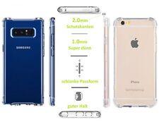 Handy Silikon Case Klar Schutz Schale Hülle Tasche Ecken Kanten iPhone & Samsung