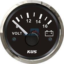 KUS Marine Voltmeter Gauge WEMA Boat Battery Voltage Meter Steel Bezel 8-16V