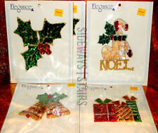 ELEGANCE HOLIDAY APPLIQUÉ LOT tree holly stocking noel gift box Christmas bells