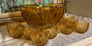 Beautiful Vintage MCM Heavy Amber Glass Punch Bowl 10 Cup Party Hostess Set