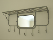 MIRROR WITH SHELF AND COAT HOOKS CREAM FINISH RETRO INDUSTRIAL  HALLWAY