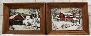 (2)Kay Dee LINEN Hand Prints Vintage Winter Red Barn- Covered Bridge