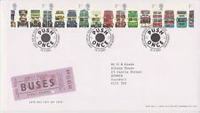 GB ROYAL MAIL FDC FIRST DAY COVER 2001 DOUBLE DECKER BUSES STAMP SET LONDON PMK