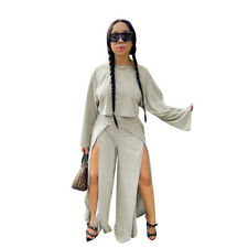 New Fashion Women Long Sleeves Slit Patchwork Solid Loose Casual Jumpsuit 2pcs