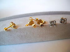 STUD EARRINGS 4 SETS STERLING SEX SYMBOLS AND GOLD HEARTS SUPER STUDS