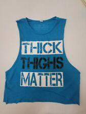 NLSA No Limits Sports Apparel Women's M Teal Slvlss Crop Shirt Weightlftng NWOT
