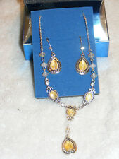 "Silver Tone AVON Rhinestone ""Vintage"" Pastel Necklace Earring Set New 2007 AV3"