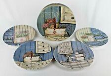 "Jo Moulton ""SEEDS"" Set of 4 Ceramic Plates - Gardening, Chickadee Design # S1721"