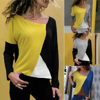 Women Casual Asymmetrical Patchwork Color Block Long Sleeve T-Shirt Blouse Tops