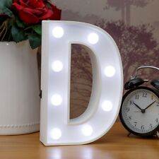 Light Up Letter D - White Marquee Letters 23cm LED Wooden Letter Lights Sign A-Z
