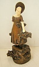 ANTIQUE PETER TERESZCZUK BRONZE GIRL WITH BASKETS OF FLOWERS