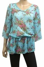 Chiffon V Neck 3/4 Sleeve Floral Tops & Shirts for Women