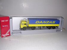 """Herpa #847014 Iveco Cab w/""""Danzas"""" Covered Trailor Blue & Yellow H.O.Gauge"""